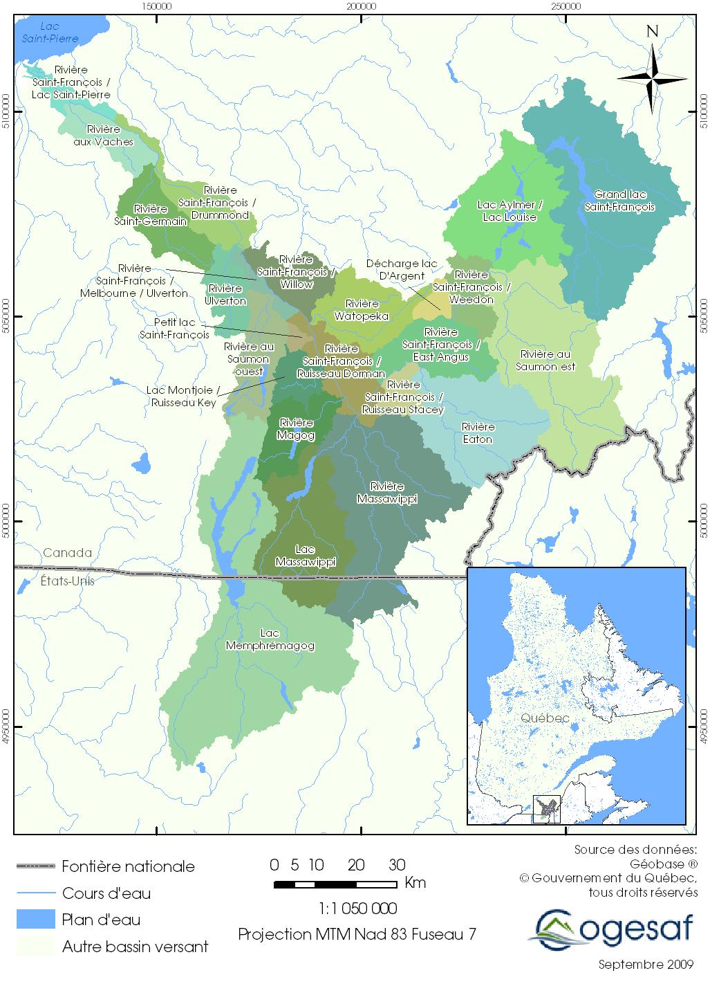 carte bassin versant de la rivière saint-françois
