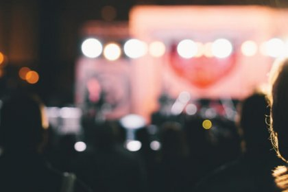 A group of fans at a live music concert, natural light,tilt-shift lens
