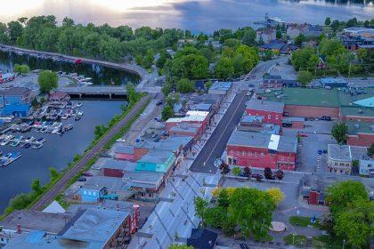 Revitalisation du centre-ville de Magog   Vue aérienne juin 2020