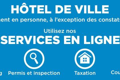 Actualité - À l'exception des constats d'infraction, aucun paiement en personne à l'hôtel de ville