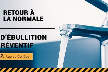 Communiqué - Levée de l'avis d'ébullition préventif pour la rue du Collège