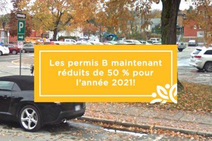 Actualité - Les permis annuels de stationnement sont maintenant réduits de 50 % pour l'année 2021